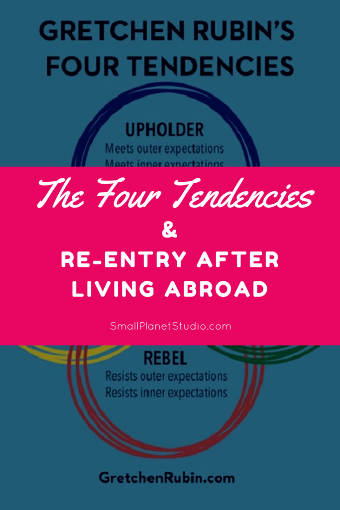 """A graphic of Gretchen Rubin's """"Four Tendencies"""" with the title of this piece, """"The Four Entries and Re-entry After Abroad"""" superimposed on top of it."""