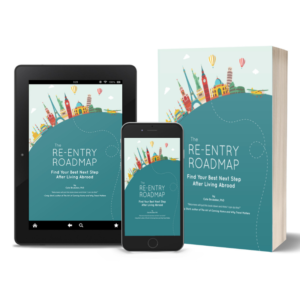 A book, tablet, and cellphone screen featuring the Re-entry Roadmap workbook.