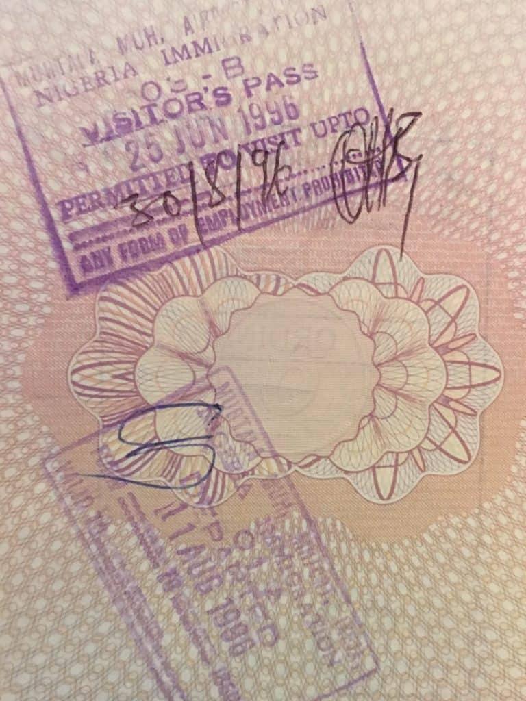 A photo of visa stamp into Nigeria.