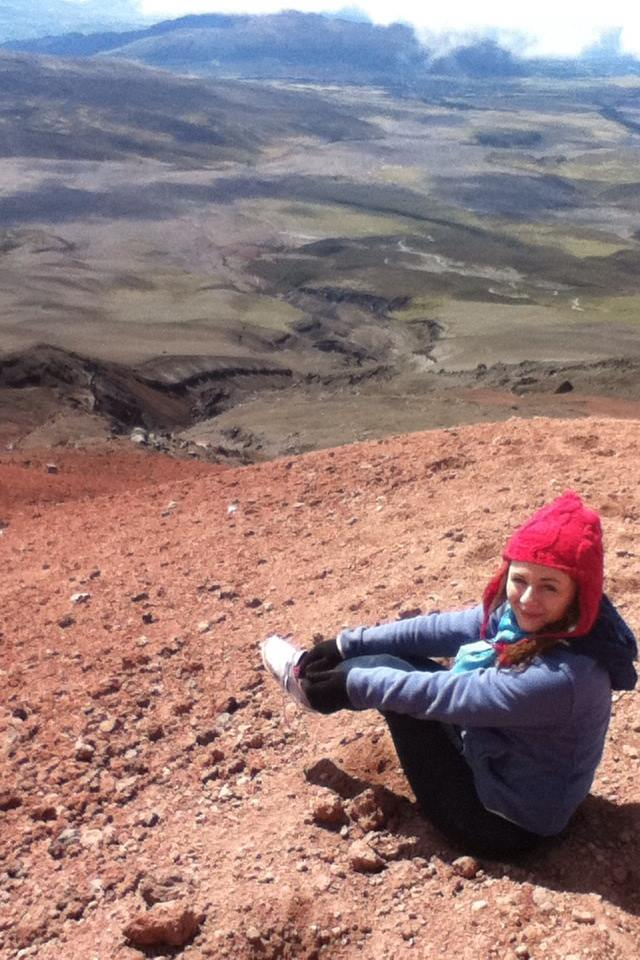 A young American girl in the mountains of Cotopaxi, Ecuador.