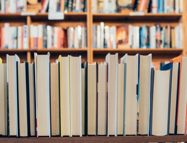 A row of brightly colored books in a library or bookstore.
